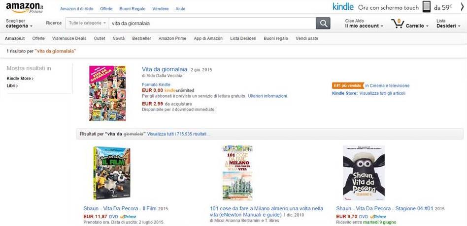 Vita da giornalaia numero uno su Amazon